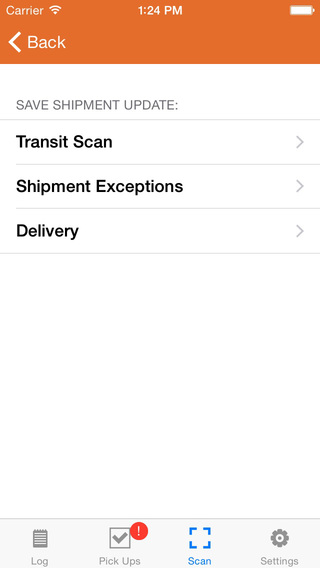 Overnite Courier Tracking App - Screenshot