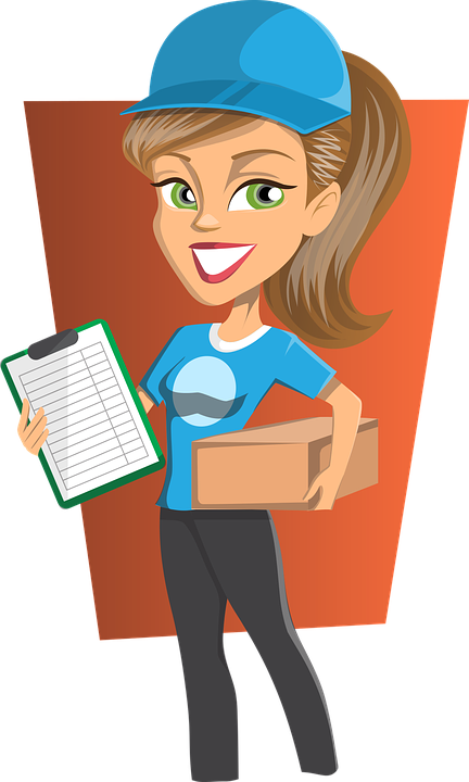 Woman with courier delivery